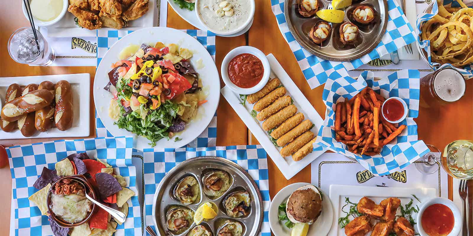 Captain Parkers classic pub appetizers including clam chowder, quahogs, oysters, mozzarella sticks, shrimp, chicken wings and more